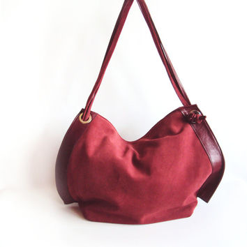 Burgundy Red Hobo Bag, Leather Saddle Purse, Suede Shoulder Bag, Red Slouchy Bag with Knotted Handles