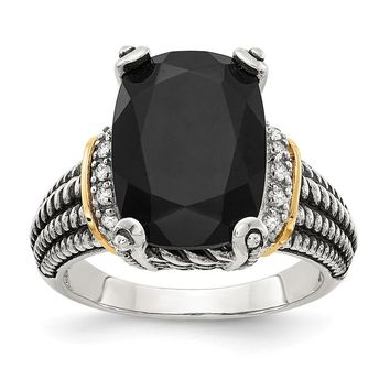 Sterling Silver Two Tone Silver And Gold Plated Sterling Silver w/Black Onyx & White Diamond Ring
