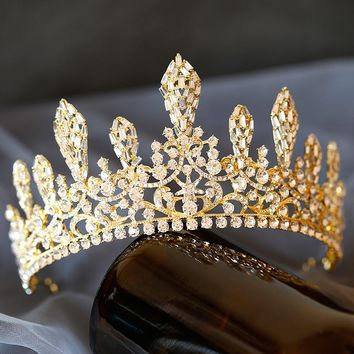 Queen Big Crowns Crystal Large Bridal Tiaras Vintage Gold Silver Hair Accessories Wedding Rhinestone Diadem