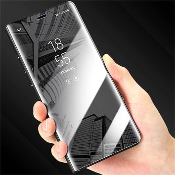 XINMANROU Luxury Flip Protection Full Screen Window Cases for iPhone 7 6 6s Plus Clear Mirror Cover for iPhone X 8 Plus Case