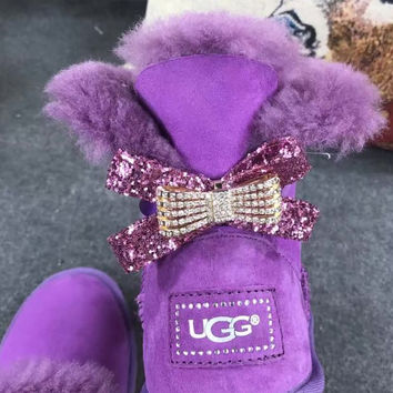 UGG Hot style wool queen diamond bow ultra female beauty with thick warm ugg boots Purple(one bowknot)