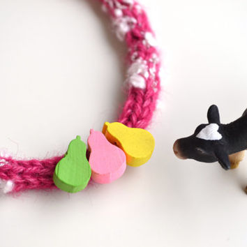 Alpaca Pink Knitted Girl Necklace, Fabric Yarn bib jewelry, Children accessories, Eco friendly