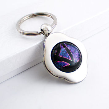 Pink and Black Key Chain, Keyring Holder, 4 Leaf Clover, Key Fob, Dichroic Cabochon, Cool Men's Gift, Silver Keychain, Gift for Her