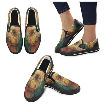 Dog Pencil Drawing Women's Slip-on Shoes