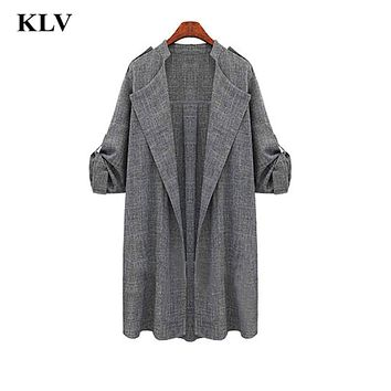 Womens New Arrival Hot Sale Open Front Trench Coat Office Lady Long Sleeve Overcoat Waterfall Cardigan  Oct19