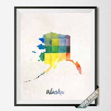 Alaska Print, Map, Art, Artwork, Wall Art, Poster, Painting, Map of Alaska, Anchorage, USA, United States, Dormroom, Room, Cute  [NO 3]