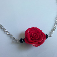 Red flower necklace, polymer clay jewelry, red rose necklace, everyday jewelery, party, gift item, bridesmaid, wedding jewelery, unique