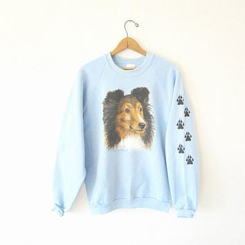Vintage BORDER COLLIE Retro LASSIE Dog Baby Blue Fruit of the Loom Paw Print 50/50 Blend Sweatshirt Sz Large