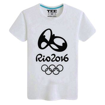 Rio 2016 Olympic Games Round Neck Tee -XL Black And White-A442