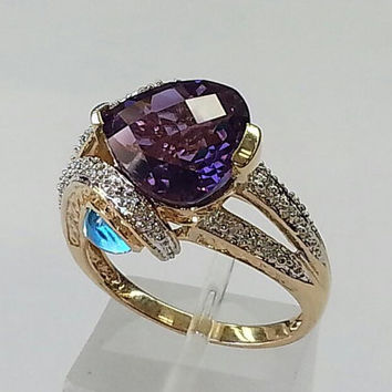 Amethyst and topaz cocktail ring
