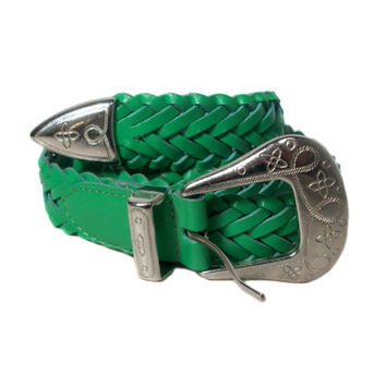 1980s Milor Green Braided Leather Belt / Preppy / Waist Cinch / Bright / Spring / St. Patricks Day / Vintage Accessories / Size Small