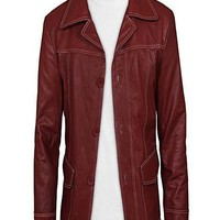 Fight Club Brad Pitt Red Stylish Jacket Leather Coat