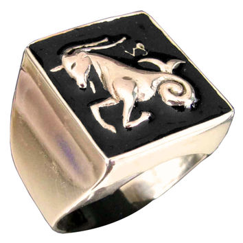 Night Sky Capricorn Ring Capricornus Zodiac Astrology Symbol in Bronze with Dark Blue Enamel