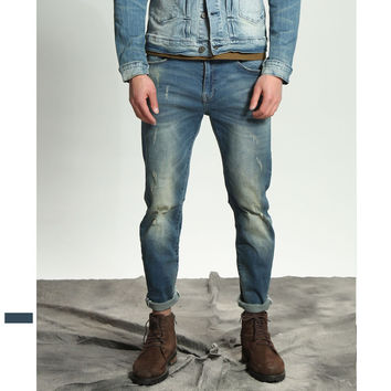 Men's Fashion Summer Weathered Ripped Holes Jeans [10422071363]