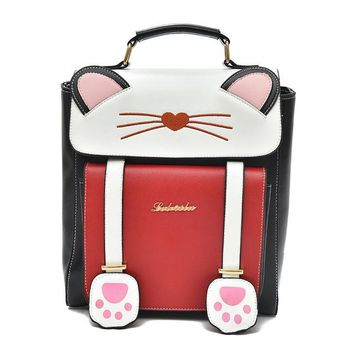 University College Backpack 2018 Trend Women  Preppy Style Female  Students  Large Capacity Cute Cat Pattern Printing Girls KnapsackAT_63_4