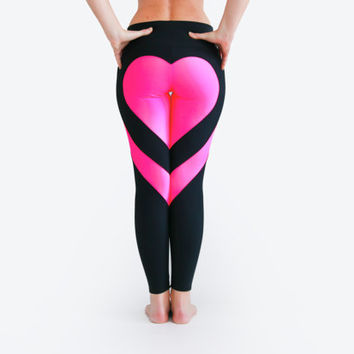 Heart Leggings, Heart Booty Pants, Hot Pink Leggings, Sexy Yoga Pants, Workout Tights, Pink Black Leggings, Sexy Gym Wear, Love Leggings