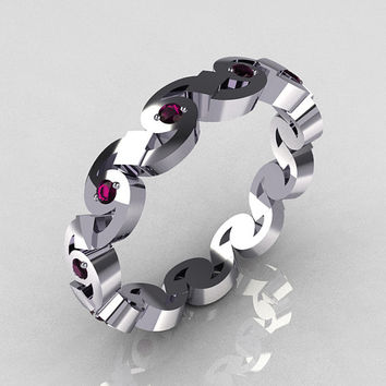 Exclusive 14K White Gold Round Amethyst Eternity Designer Ring Y243-14KWGA