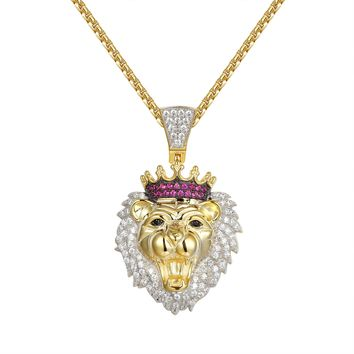 14k Gold Finish Lion Head Crown Silver Pendant Chain