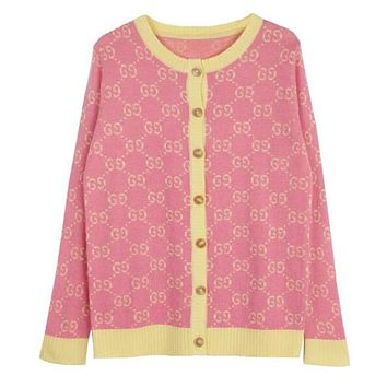 """GUCCI"" Fashionable Women Leisure GG Jacquard Long Sleeve Cardigan Sweatshirt Jacket Coat Pink"