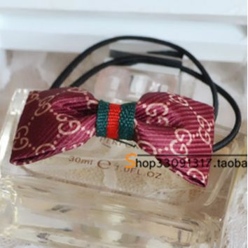 GUCCI temperament classic cloth college wind Europe and the United States big card hair bow hair hair rope headdress Charm wine red