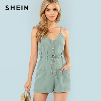 SHEIN Green Plain Sexy Spaghetti Strap V Neck Sleeveless Button Pocket Mid Waist Cami Romper Summer Women Casual Playsuits