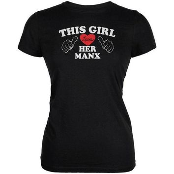 MDIGCY8 Valentines This Girl Loves Her Manx Black Juniors Soft T-Shirt
