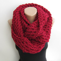 Chunky infinity scarf, cranberry knitted loop scarf
