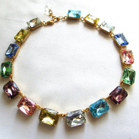 Downton Abbey Necklace, Emerald Cut Crystal Necklace, Wintour Necklace. Georgian Paste Collet Riviere, Multicolor Colored Crystal Necklace