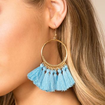 In The Loop Light Blue Tassel Earrings