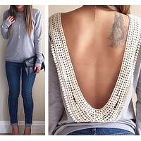 Sexy backless top shirt sweater