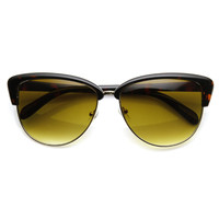 Elegant Designer Womens Fashion Half Frame Cat Eye Sunglasses 9415