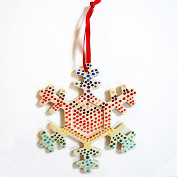 Hand Painted Dotted Rainbow Snowflake Ornament