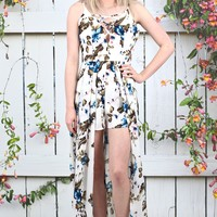 Hawaii Bound Floral Maxi Romper {Ivory}