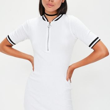 Missguided - White Rib Short Sleeve Bodycon Dress