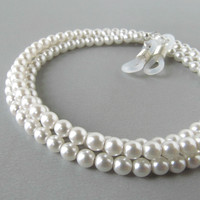 White Pearl Glasses Chain with Czech Pearls