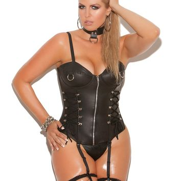 Plus Size Leather Underwire Corset with Zipper