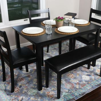 New Century® 5 Pieces Black 4 Person Dining Table With Leather Chairs