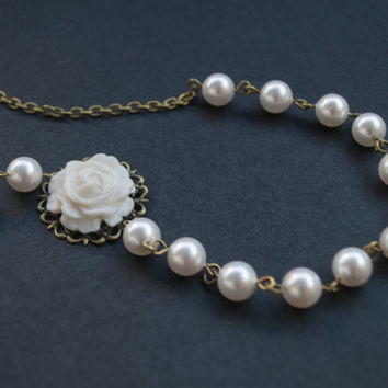 White Pearl Necklace. Polymer Clay White Rose Strand Necklace. Antique Brass. Pearl Wedding Jewelry. Bridesmaid Gift