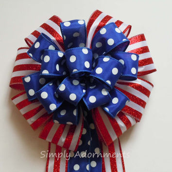 Red White Blue Patriotic Decoration Gifts Bow Fourth of July Bow Independence Day Bow Election Day Bow Veterans Day Military Bow