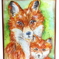 Original Handpainted, Watercolor Card, NOT A PRINT, Painting of a Fox and baby, Art, Mama Fox, Greeting Card, Original Painted Card.