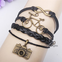 DIY craft infinity bracelet bike camera of eight alloy bracelet bangles, men and women friends gifts QNW8020