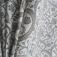 Pair Natural Linen Drapery Panels Damask Print Curtain White Grey linen Curtains Spring windows