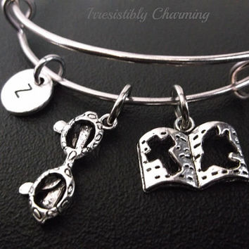 Reading the bible theme..... bible book and eyeglasses bracelet, Stainless Steel Expandable Bangle, monogram personalized item No.225