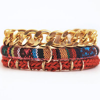 Boho wrap bracelet with chunky chain and ethnic cord, double wrap red and gold