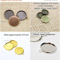 Round Pendant tray bezel, 20 pcs  20mm round bezel, photoamulett,  gold, silver,antique brass bezel, antique copper blank, jewelry frame