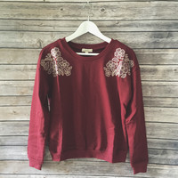 A Touch Of Floral Sweatshirt (Burgundy)