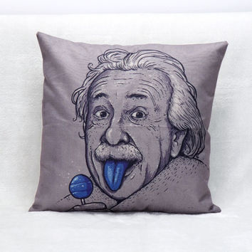 45X45cm Cushion Cover Funny Portrait Albert Einstein Famous Scientist Sofa Room Decor Pillow Cases Throw Pillows Cushion Covers