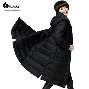 L. coassion Duck Down Winter Coat Female 2016 New Hooded Casual Loose Plus Size Light Cloak Thick Long Down Jacket Women 10263