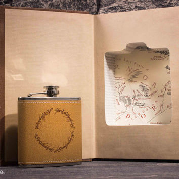 Hollow Book Safe and Hip Flask - The Fellowship of the Ring - J. R. R. Tolkien - One Ring Inscription Flask