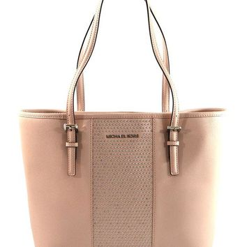 DCCKW7H MICHAEL Michael Kors Women's Jet Set Travel Micro Stud Leather Carry All Tote Handbag